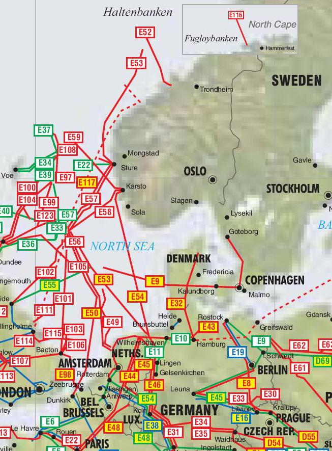 Las tuberas en Noruega Suecia y Dinamarca  Oleoductos